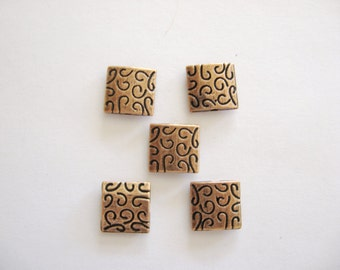 Copper Beads, Copper Spacers, Copper Findings, Copper squares, Copper flat square spacers, Copper Jewelry Findings, Copper Componants