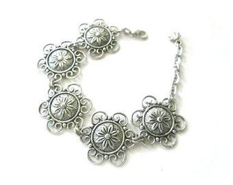Flower bracelet antiqued silver jewelry, Tibetan silver flower bracelet