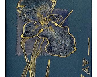 Handmade blank greeting card - Dark-blue iris - art card for any event - OOAK