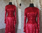 Vintage Oleg Cassini Cranberry Sequined Dress Small