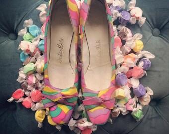 Vintage 1960's Multicolored De Liso Debs Heels Size 7.5