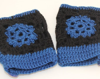 Crochet black and blue wrist warmers