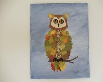 Woodland Owl Art Canvas Owl Wall Art Whimsical Woodland Wall Hanging Canvas Art Owl Art Owl Wall Hanging (CA102B Woodland Owl/Oliver)