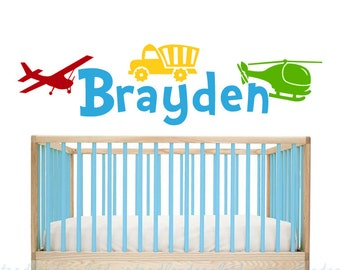 Transportation Wall Decal - Name Vinyl Wall Decal - Boys Truck Nursery Art - Kids Airplane Wall Decal - Helicopter Sticker for Boys Room