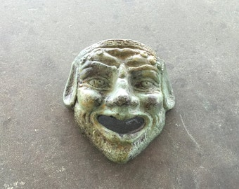 Bronze Greek Comedy Theatre Mask, Ancient Greek Drama Actors Mask, Comedy Mask, Bronze Sculpture, Museum Replica Sculpture, Collectible Art