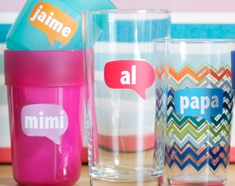 """Personalized """"Thought Bubble"""" Drink Labels with Names - Removable and Reusable - Glass Labels"""