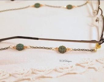 Green and Gold Eyeglass Lanyard, Swarovski Crystal Sunglass Chain,  Beaded Eyeglass Necklace Sunglass langyard OOAK Handmade Eyeglass Holder