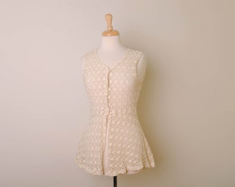 Vintage Cream Lace Top by In Charge, Made in USA