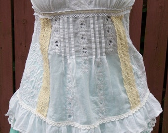 Steampunk White & Cream Blouse with Vintage Lace Trim - Junk Gypsy Clothing - Small Petite