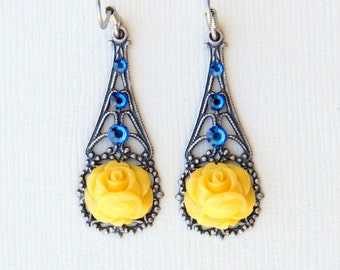 Yellow Rose Earrings, Summer Earrings, Gift for Her