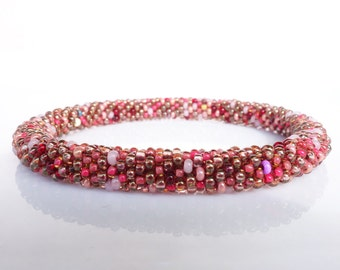 Nepal rollon Bracelet/ multicolor red, scarlet colors/ choose your SIZE: small, middle or big /high quality Beadcrochet Handwork from Europe