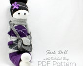 Sock Doll with Satchel Bag Pattern (Pattern PDF file) by Sewinthemoment suitable for beginners. Easy instructions and photos for every step.
