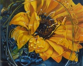 """20 x 16 Double Matted Giclée Reproduction Print of original """"Sunflower in a Mason Jar"""" by Katie Koenig 2/250 Limited Edition"""