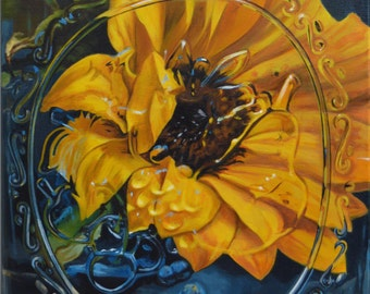 "20 x 16 Double Matted Giclée Reproduction Print of original ""Sunflower in a Mason Jar"" by Katie Koenig 2/250 Limited Edition"
