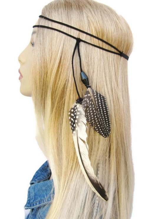 feather and suede hippie black and white headband  women teen hair accessories Against The Wind