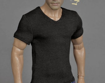 1/6th scale black V-neck T-shirt for: male action figures and fashion dolls
