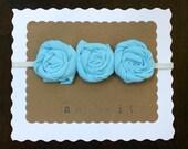 Blue Flower Headband - Skinny Elastic Headband - Baby Headband - Tshirt Headband - Repurposed Upcycled Tshirt