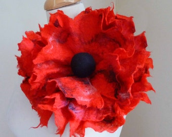 felted flower corsage pin brooch handmade, wool, jewelry, lagenlook, poppy, MADE TO ORDER