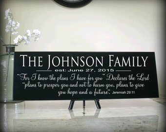 Christian Personalized Family Sign Bible Scripture Verse For I know the Plans Jeremiah 29:11 Carved Wood Sign Bible Verse Religious