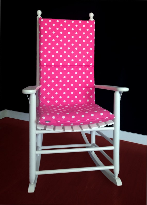 Rocking Chair Cushion Cover - Candy Pink Polka Dot, Ready to Ship