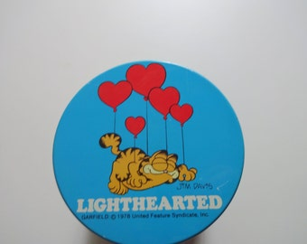 Vintage Garfield Lighthearted Metal Tin 1980s