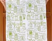 Organic Cotton Kitchen Tea Towel - Canning - Hand Printed - Mason Jar - Spring Summer Fall