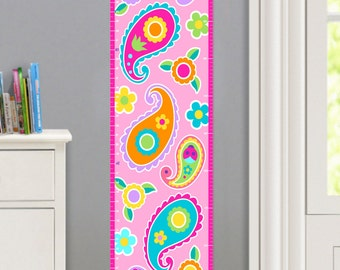 Kids Personalized Paisley Dreams Canvas Growth Chart, Girls Bedroom Decor, High Quality Canvas Growth Chart, Nursery Wall Decor