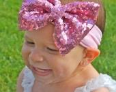 Sequin Headband - Light Pink Headband - Light Pink Headwrap - Light Pink Sequin Headband