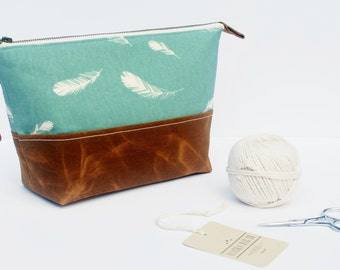 Canvas Project Bag, Zipper Bag, Cosmetic Bag with Waxed Canvas Base, Feathers in Dark Teal and Cream