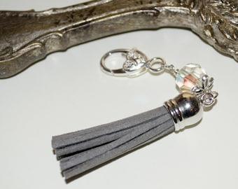 Grey Purse Charm, Tassel Zip Pull, Grey Tassel Keyring, Boho Purse Charm, Grey Bag Charm, Boho Tassel Clip, Tassel Keyring, Grey Zipper Pull