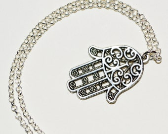 Hand of Fatima Necklace, Hamsa Pendant, Hand Necklace, Hamsa Necklace, Silver Hamsa Hand, Decorative Hamsa Hand Jewelry, Hamsa Charm Jewelry