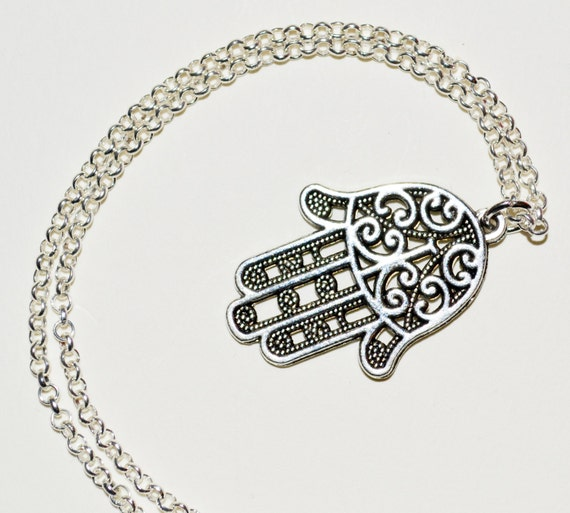 Hand of Fatima Necklace, Hamsa Pendant, Hand Necklace, Hamsa Necklace, Silver Hamsa Hand, Decorative Hamsa Hand Jewelry, Hamsa Charm Jewelry