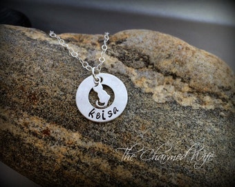 Cat Lover Necklace - Personalized Cat Jewelry - Pet Jewelry - Cat Name Necklace - The Charmed Wife - Kitty Necklace - Animal lover Jewlery