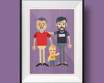 Custom Retro Cartoon Print - Three People