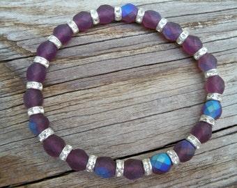 Stretch Bracelet 8mm Czech Glass Amethyst Rhinestones