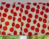 Valance . Kitchen Valance - Big Red Polka Dots on a White Background . Vintage Fabric . Handmade by Pretty Little Valances
