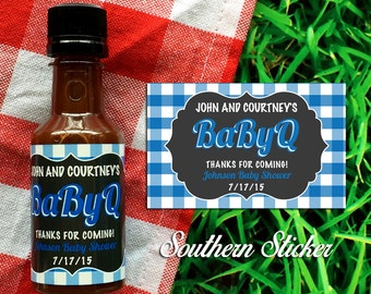 BabyQ Custom Barbecue Sauce Favors Personalized BBQ Labels & Empty 50 mL Bottles Baby Shower Favors BBQ Cookout Baby Q BabyQ Sauce SS-1034