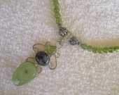Olivine necklace, natural gemstone, peridot crystal necklace, tropical olivine jewelry