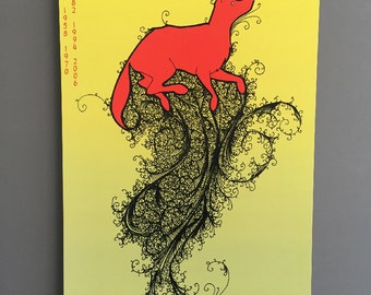 Chinese Zodiac Dog Large Art Print 11x17 Fall Red Yellow Gold Autumn