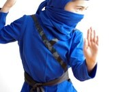 Ninja costume in cotton jersey - Size 6 only - Blue only