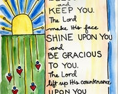 Numbers 6:24 May the Lord Bless You and Keep You Illustrated Watercolor Prints