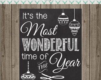 It's the Most Wonderful Time of the Year Chalk Board Sign - Christmas Chalkboard Printable