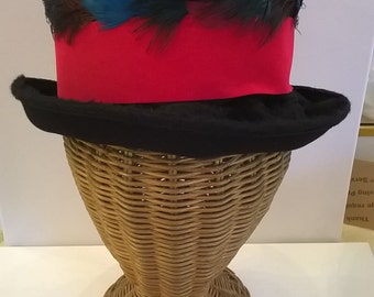 Furry Black Wool Felt Hat - Vintage Mr. Josephs Hat with Red Velveteen Ribbon and Colorful Feather Trim - 1960s Chapeau