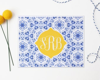 Monogram Stationery Personalized Stationary Custom Thank You Notes Blue and White China Pattern Southern Note Cards Ginger Jar Design Girls