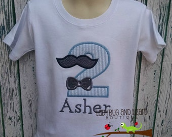Birthday Mustache and Bow Tie Top Size 12M-18M, 2T-5T, 6