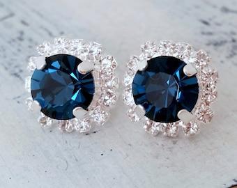 Navy blue earrings,navy blue bridesmaid gifts,studs,Swarovski crystal stud earrings, Bridal earrings,navy blue stud earrings, silver or gold