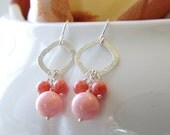 Coral Jewelry Dangle Earrings Pink Coral Peach Coral Earrings Sterling Silver Jewelry Coral Bridesmaid Earrings Peach Wedding Jewelry By SS