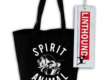 Introvert Spirit Animal Black Canvas Grocery Tote Bag