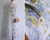 50% OFF - Vintage 90's Blue Rose Garden Spring Floral Print Tank Dress L or XL