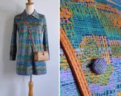 Vintage 70's 'Weft & Warp' Abstract Woven Print Graphic Mini Dress S or M